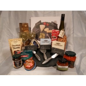 Slate Wine & Cheese Set Gourmet Gift Basket