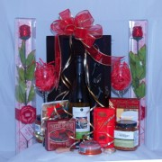Wine Wooden box travel Gift Basket