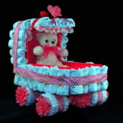 Baby Carriage Diaper Cake Gift Basket