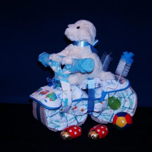 Baby Gift Basket Diapers : Baby boy or girl diaper motor bike gift basket