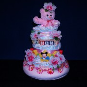 Baby Girl Diaper Cake Gift Basket
